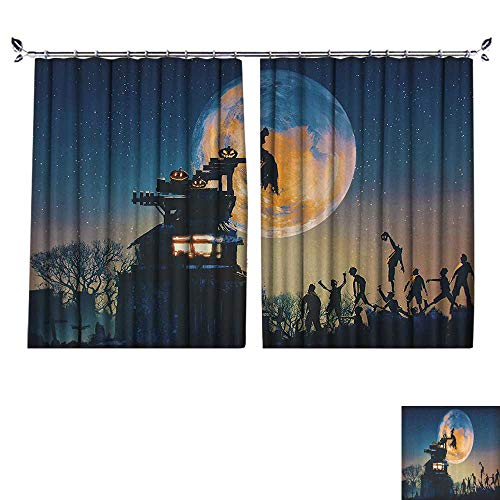 DESPKON Decoration Polyester Material Dead Queen in Castle and Zombies in Cemetery Love Affair Bridal Halloween for Children's Room W55 x L72
