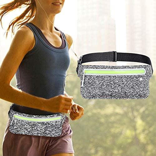 AIELE Running Waist Packs, Slim Running Pouch Belt, Bounce Free Fanny Pack for iPhone X XR 7 8 Plus Dual use of Men and Women