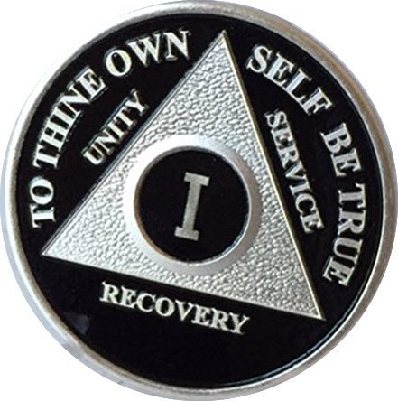 AA Coin (Alcoholics Anonymous) Recovery Medallion Anniversary/Birthday Black/Silver Coin Years 1 thru 55