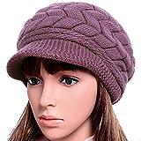 #9: Women Lady Braided Warm Cabled Knit Winter Beanie Crochet Hats Newsboy Caps Purple
