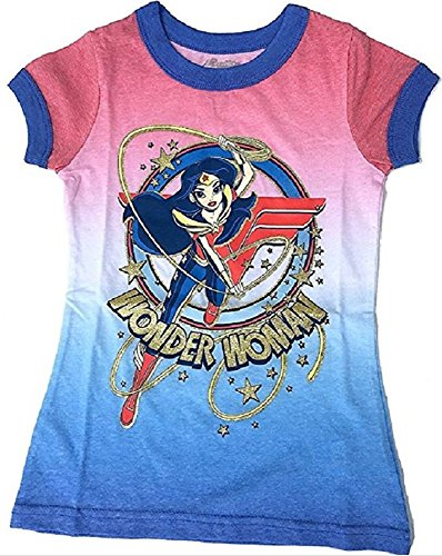 Wonder+Woman+Shirts Products : DC SuperHero Girls Wonder Woman Lassoing Large Graphic Ringer Tee Shirt Glitter Accents