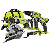 Factory Reconditioned Ryobi ZRP887 18-Volt One+ 5-Piece Lithium-Ion Combo Kit Without Batteries and Charger