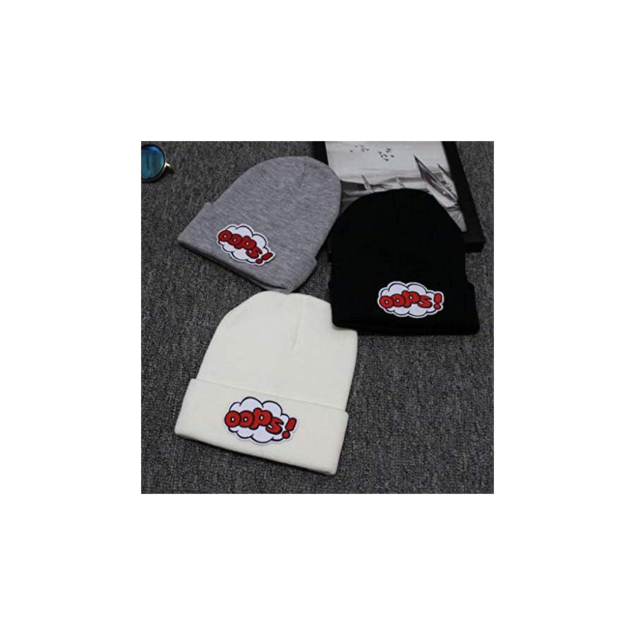 Jesse Unisex Winter Oops Embroidery Woolen Knitted Hat, Hip Hop Wool Cap Ski Cap