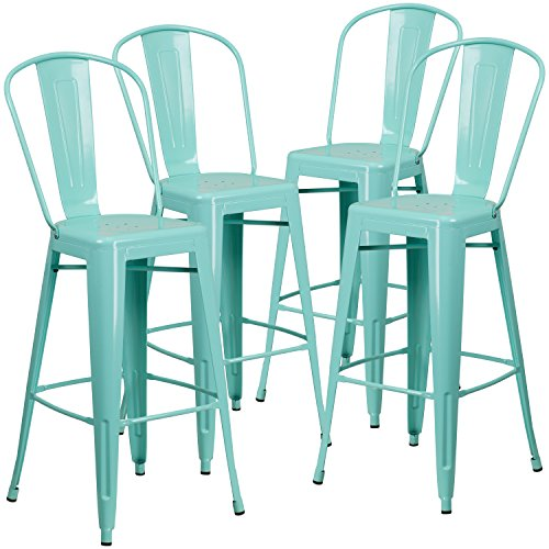Bar Green Color - Flash Furniture 4 Pk. 30'' High Mint Green Metal Indoor-Outdoor Barstool with Back