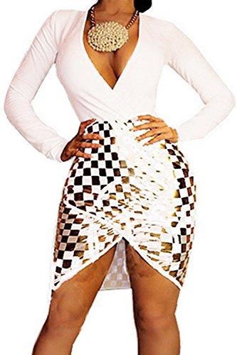 Womens Sexy Deep V Neck Long Sleeve Sequins Bodycon Party Club Split Dress (XXL, white)