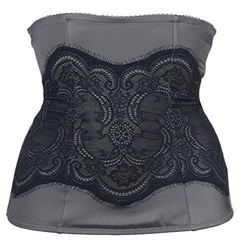 m Women's Pretty Shapewear Lace Waist Nipper, Steel Grey/Black, X-Large ()