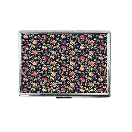 (Blue Flower Vintage Lace Floral Rose Custom Design Silver Color Stainless Steel ID Cigarettes Case Holder Stylish Credit Card RFID Protective Security Wallet)