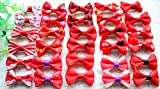 Yagopet 50pcs/25pairs New Dog Hair Clips Choose 6 Colors Mix Varies Patterns Small Bowknot Pet Grooming Products Pet Puppy Hair Bows Dog Accessories (Red)
