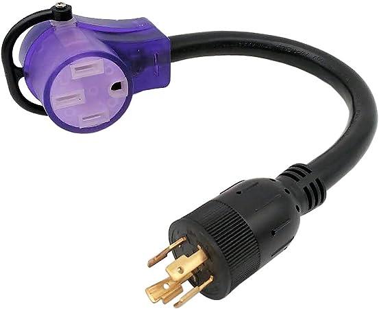 1FT Parkworld 885262 Generator Adapter Cord 4-Prong Locking 20 AMP L14-20 Plug to 30 AMP Locking L14-30 Receptacle