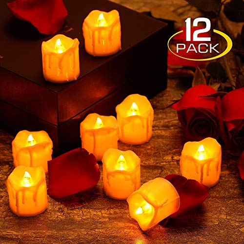 zerproc Warm Yellow Candle Lights, LED Flameless LED Candle Lights with Battery Powered, Wax Dripped Tea Lights Candles for Valentines Day, Wedding, Party, Home and Christmas Decor, 12 Pack