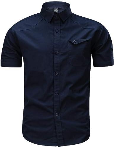 ZARLLE España Ejército Camiseta Hombres Verano Retro Tooling Solapa Cotton Casual Camisa De Manga Corta para Hombres Carga Militar Botón Top Blusa: Amazon.es: Ropa y accesorios