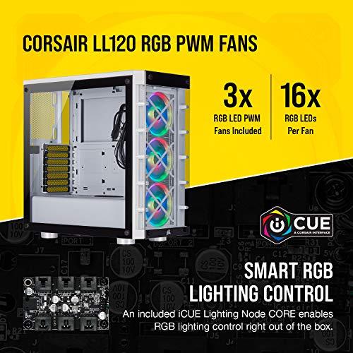 Corsair iCUE 465X RGB Mid-Tower ATX Smart Case, White (CC-9011189-WW) & LL Series, LL120 RGB, 120mm RGB LED Fan, Single Pack- White