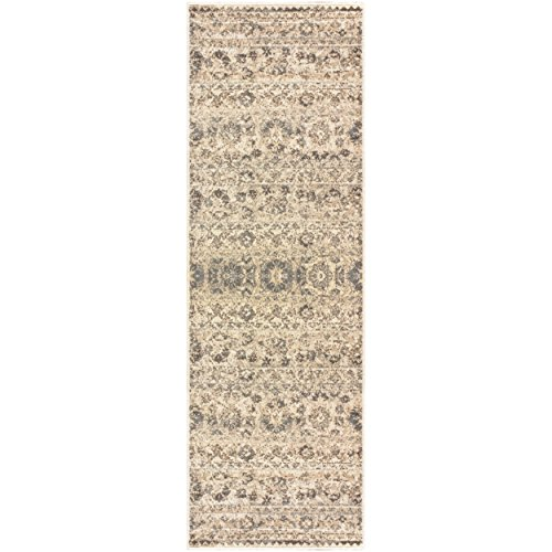 Superior Fawn Collection Area Rug, 8mm Pile Height with Jute Backing, Chic Distressed Floral Medallion Pattern, Fashionable and Affordable Woven Rugs - 2'7