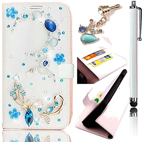 Huawei Ascend P9 PU Leather Hybrid Case,Sunroyal Flip Hard Stand Magnet Inner PC Card Holder-Bling Crystal Blue Moon White Pattern+Gemstone Dustproof Pendant+Touchscreen (Cameo Magnet)