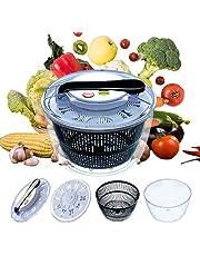 Salad Spinner Large Multifunctional 4.5 Quart Design BPA Free,Manual Good Grips Crank Handle & Locking Fruits and Vegetables Dryer Dry Off & Drain Lettuce Quick Spinner