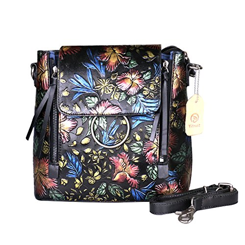 Yitrust Leather CrossBody Messenger Bag Shoulder Bags Mini Backpack with Hand Painted Floral for Women (Red (Hand Painted Leather Bags)