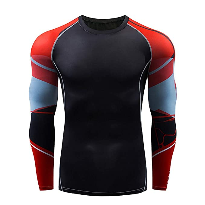 Men Compression Tights Sports Gym T-shirt Thermal Long Base Layer Top Quick Dry
