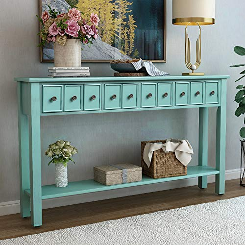 Console Table Rustic Entryway Table, 60 Long Sofa Table with Two Different Size Drawers and Bottom Shelf for Storage Blue