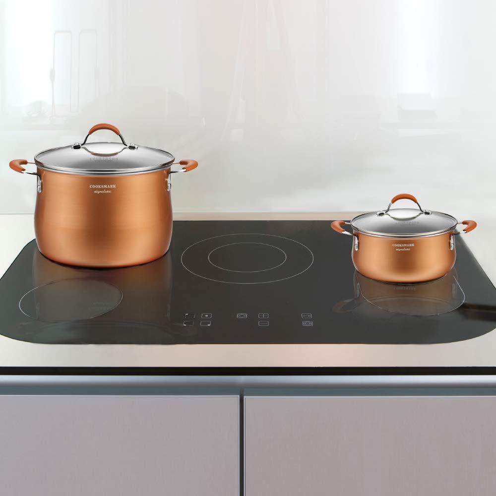 COOKSMARK Induccion Juegos de sartenes y ollas bateria de cocina juego ollas cazuela vitroceramica antiadherente de cobre aluminio tapa lavavajillas ...