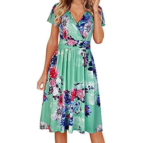 Dress for Women Wedding Guest On Sale Kekebest Causal Short Sleeve Floral Print V-neck Mini Dress Dress from Kekebest