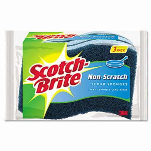 Scotch-Brite Non-Scratch Multi-Purpose Scrub Sponge, 4 2/5 x 2 3/5, Blue, 3/Pack by Scotch-Brite