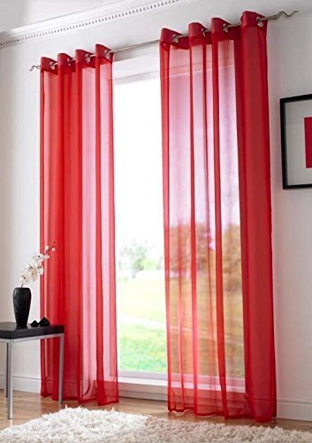 Buy Adorro 2 Elegant Plain Red Sheer Curtains for Home - Blended ...