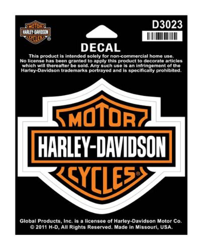 Harley Crossbones Davidson - Harley-Davidson Bar & Shield Medium Decal, 3-15/16'' W x 3-1/8'' H D3023