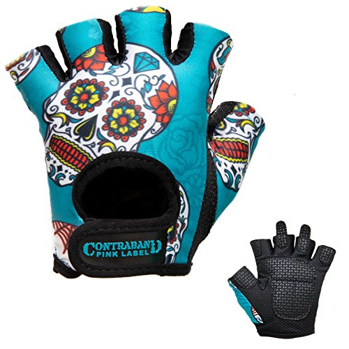 Contraband Pink Label 5237 Womens Design Series Sugar Skull Lifting Gloves (Pair) - Lightweight Vegan Medium Padded Microfiber Amara Leather w/Griplock Silicone (Green, Small)
