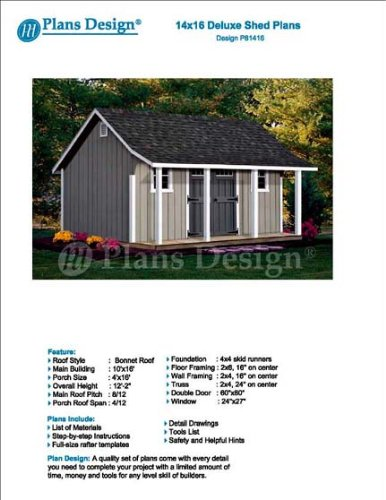 14' x 16' Storage Shed with Porch Plans for Backyard Garden - Design #P81416 (Shed Plans 12x24)