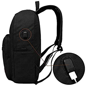 School College Backpack Bookbag 15 inch Laptop Travel Bag with USB Charging Port(canvas black)