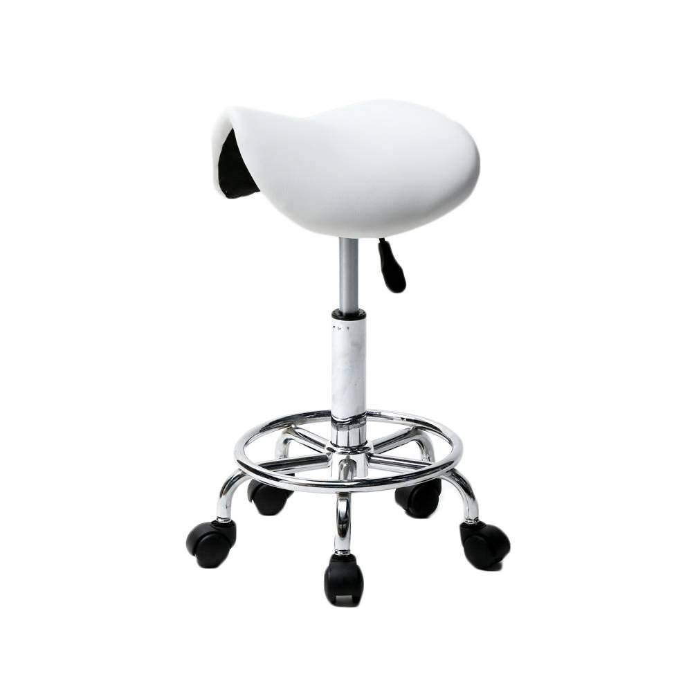 DW&HX Hydraulic Saddle Rolling Clinic spa Massage Stool Chair (No backrest,White)-White