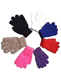 Unisex Kids Gloves Winter Thick Warm Mittens for Infant (6 Pairs, 1-4 Years)