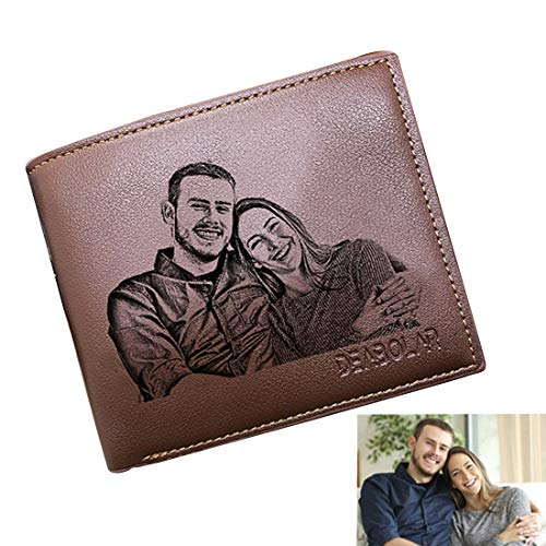 - Custom Photo Wallets Men's Leather Classic Genuine Leather Trifold Personalized Wallet Money Clip,Brown Single Side