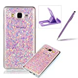 Herzzer Rubber TPU Case for Galaxy On5, Slim Lightweight Color Changing Glittering Luxury Unique [Purple Sequins] Bling Shiny Sparkle Soft Gel Clear Bumper Frame Cover for Samsung Galaxy On5