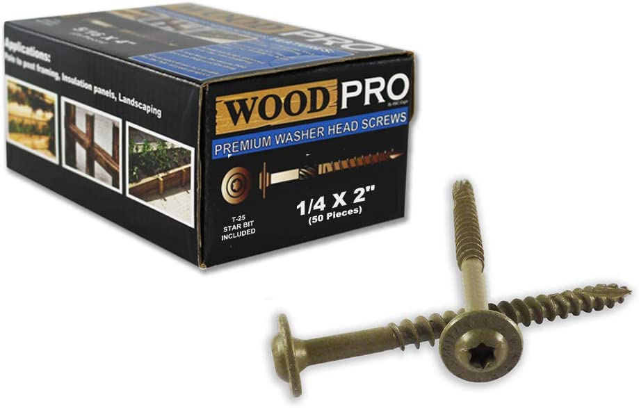 WoodPro Fasteners ST14X212-50PC 1//4-Inch by 2-1//2-Inch Length Round Washer Head