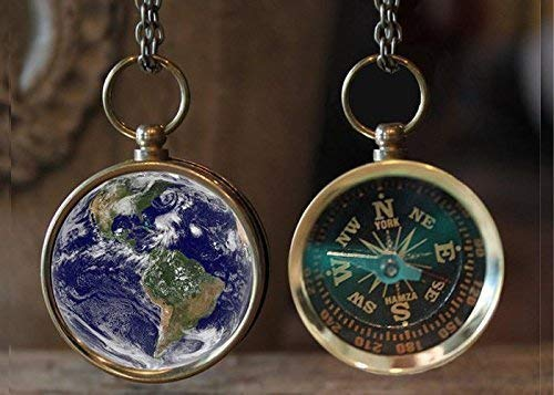 Earth Compass Necklace, Great Gift Idea, Earth Necklace, Galaxy Jewelry