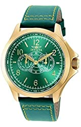 New Mens Invicta 18845 Flight Master Green Dial Leather Strap Watch