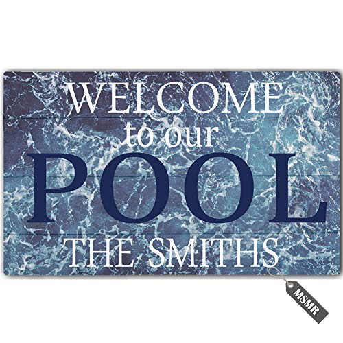 MsMr Personalized [Your Name] Door Mat Indoor Outdoor Custom Doormat Decorative Home Office Welcome Mat Welcome to Our Pool Doormat 23.6