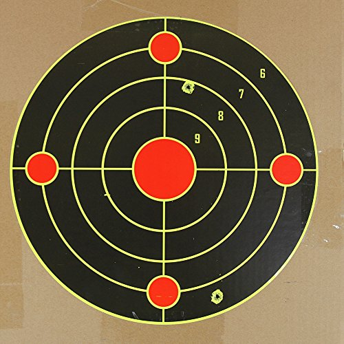 Atflbox Shooting Target 12Inch Bulleye Super Splatter and Adhesive Target.Shooting outdoor and indoor ranges.Rective shooting targets for Gun - Rifle - Pistol - AirSoft - Air Rifle for 25Pack by Atflbox (Image #2)