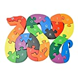 KEYNEW Colorful Wooden Snake Puzzles Alphabet ABC & 123 Number Learning Toys for Preschooler Kids Toddlers Age 3 and Up