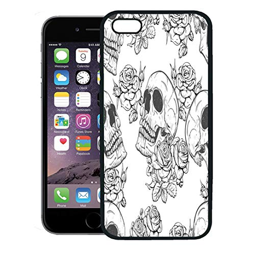 Semtomn Phone Case for iPhone 8 Plus case,Colorful Pattern Roses and Skulls Halloween Vintage Rock Tattoo iPhone 7 Plus case Cover,Black