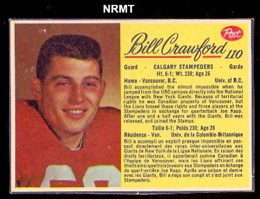 1963 post cereal CFL (Football) Card# 110 Bill Crawford of the Calgary Stampeders Fair Condition