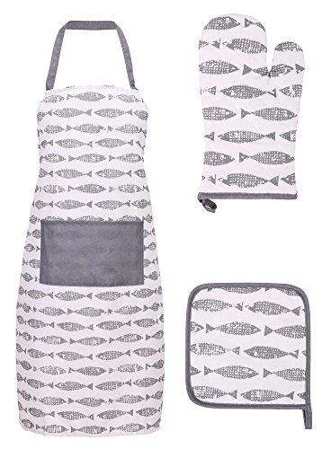 Livingston Kitchen Apron for Women/Men Glove and Potholder Set Fish Market - Grey ()