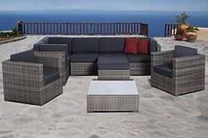 Atlantic Southampton 9 Piece Grey Wicker Seating Set w/ Grey Cushions