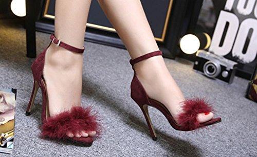 Verano Finos Una Con Abiertas Pasarela Sra Sandalias Red Tacón Zapato Tacones Alto Felpa Solo Nvlxie De Wine v4wqYFv8