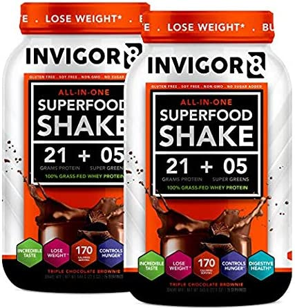 INVIGOR8 Superfood Shake Gluten-Free and Non GMO Meal Replacement Grass-Fed Whey Protein Shake with Probiotics and Omega 3 645g 2-Pck Chocolate Save 15