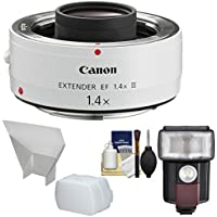 Canon EF 1.4x Extender III Lens Teleconverter with Flash & LED Video Light + Diffuser + Bounce Reflector + Kit