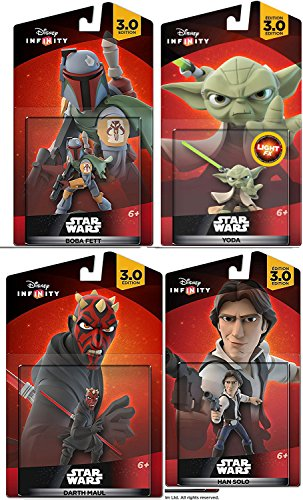 Solo 360 Mens Suits (Star Wars Infinity Bundle Yoda & Han Solo + Boba Feat & Darth Maul Character Figure combo 4-Pack)