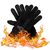 Winter Gloves, Black Cycling Gloves Touchscreen Thermal Gloves Cold Weather Running Gloves for Men
