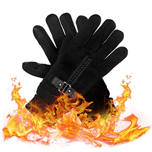 Winter Gloves, Black Cycling Gloves Touchscreen Thermal Gloves Cold Weather Running Gloves for - Running Thermal Gloves